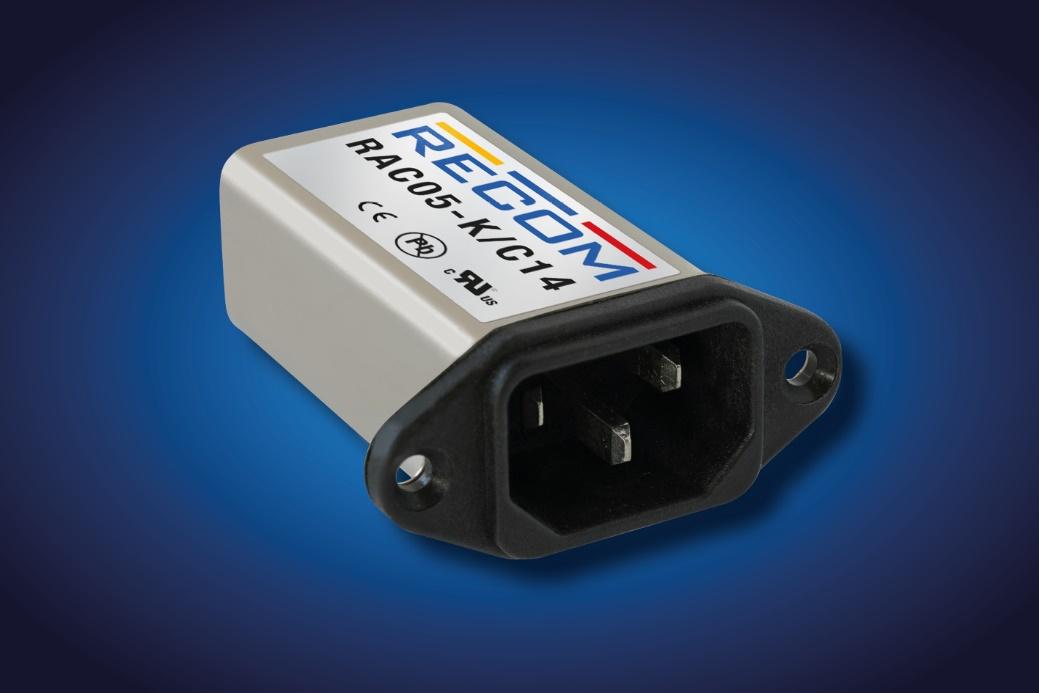 RECOM universal AC input power supply inside IEC mains filter
